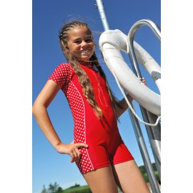 UV Badeanzug rot mit weißen Punkten