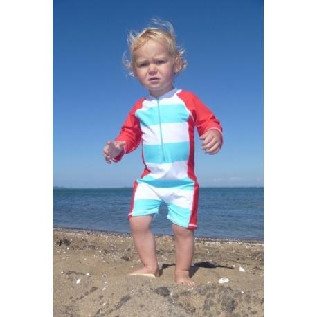 UV Badeanzug Baby Aqua / rote Streifen (kurze Ärmel)