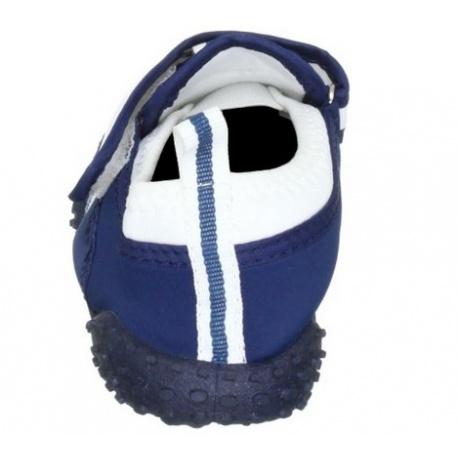 Waterschoenen blauw met witte strepen