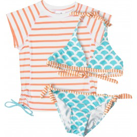 UV shirt orange stripe met blauwe bikini
