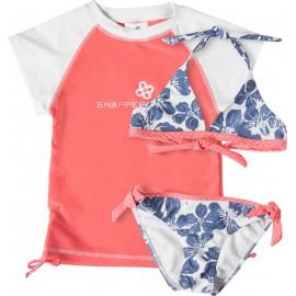 uv shirt roze met blauwe flower bikini | 3 delige uv set meisjes