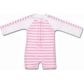 UV Badeanzug pink/white Lange Ärmel SnapperRock