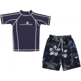 UV shirt White & boardshort Navy hibiscus