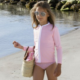 UV Shirt mit langem Arm - Reißverschluss - Soft Roses Petit Crabe