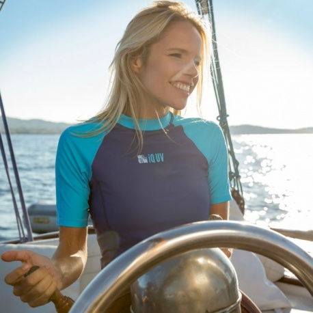UV Shirt Damen navy türkis (slim fit) | Schwimmshirt Damen zweifarbig IQ-UV