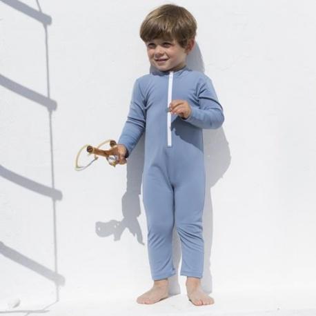 Baby Badeanzug Petrol mit langen Ärmeln und Beinen | UV Anzug Petrol