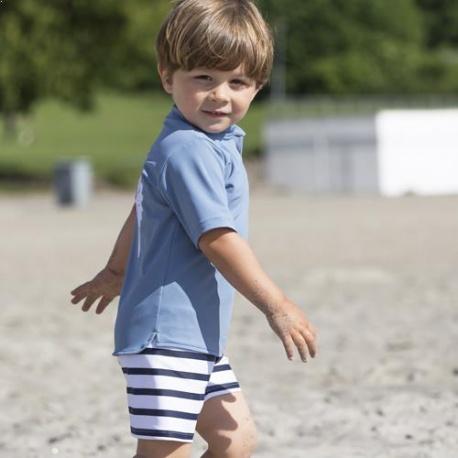 Badehose Jungen Weiß Blau gestreift