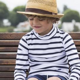 UV-Shirt Weiß Blau Langarm | Badeshirt Kind