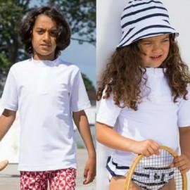 UV-Shirt Weiß mit kurzem Reißverschluss | Badeshirt Weiß Petit Crabe