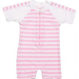 UV Badeanzug Baby Pink White stripes