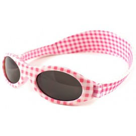 Baby Banz baby zonnebril - Roze wit geblokt (0-24 mnd)