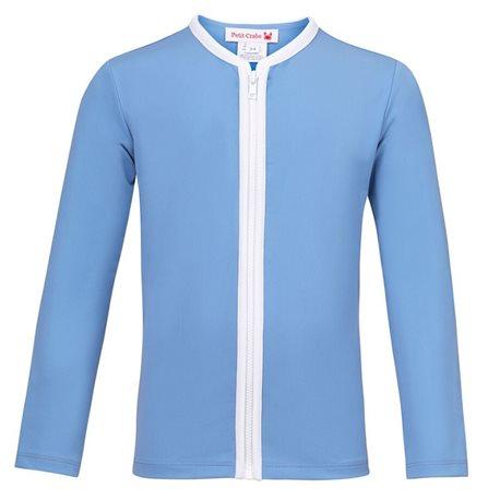 UV shirt Dusty Blue met rits - lange mouw