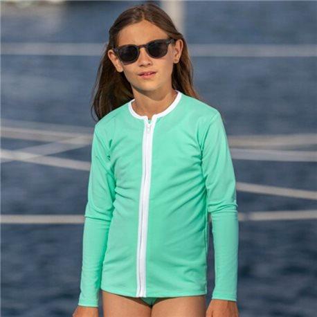 UV shirt Aqua met rits - lange mouw