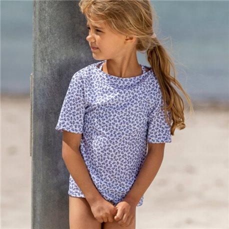 UV Shirt Grey Flowers - kurzarm - Petit Crabe