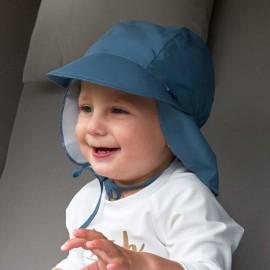 Baby Sonnenhut Blau mit Nackenschutz